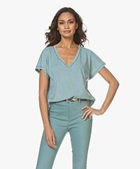 Drykorn Svana Cotton V-neck T-shirt - Sea Green