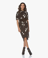 ba&sh Poppy Printed Crepe Dress - Black