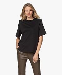 Les Coyotes de Paris Lela T-shirt with Shoulder Padding - Black