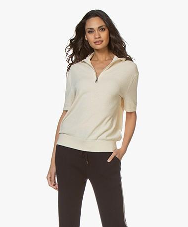 Filippa K Terrie Cotton Blend Zip Turtleneck - Off-white