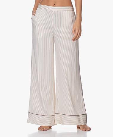 Calvin Klein Viscose Gestreepte Pyajama Broek - Off-white/Taupe