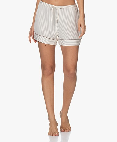 Calvin Klein Viscose Striped Pajama Shorts - Off-white/Taupe