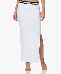 Calvin Klein Rib Jersey Maxi Skirt - White