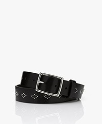 Rag & Bone Boyfriend Leather Studded Belt - Black