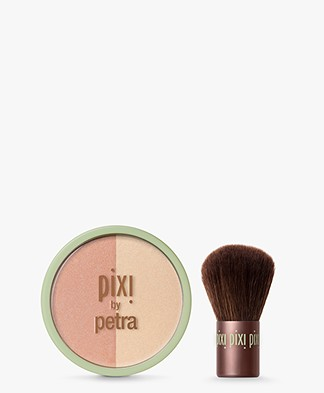 Pixi Beauty Blush Duo + Kabuki - Peach/Honey