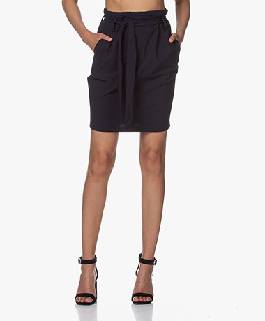 Woman By Earn Moma Tech Jersey Paperbag Rok - Navy