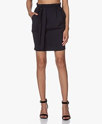 Woman By Earn Moma Tech Jersey Paperbag Skirt - Navy