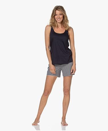 HANRO Laura Modal Blend Jersey Pajama Set - Midnight Stripe