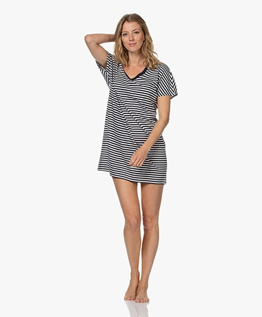 HANRO Laura Striped Jersey Nightshirt - Midnight Stripe