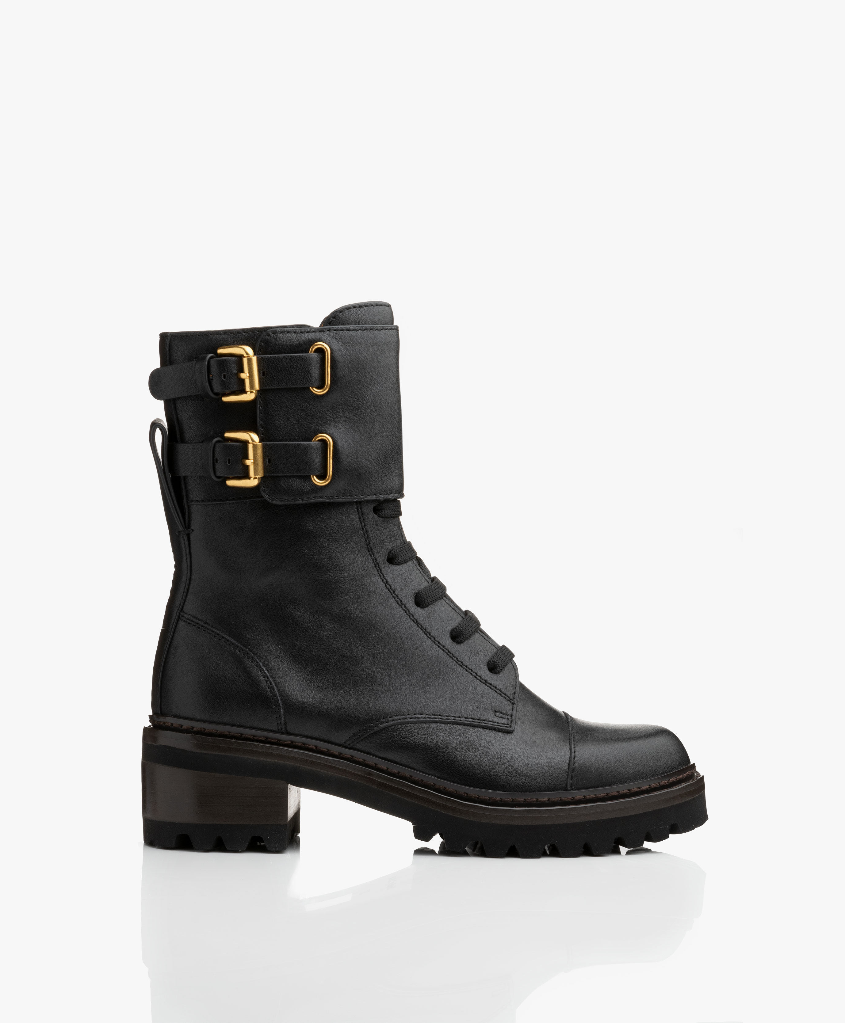 184475c6fd See by Chloé Mallory Leather Combat Boots - Black - sb33080a 10140 ...