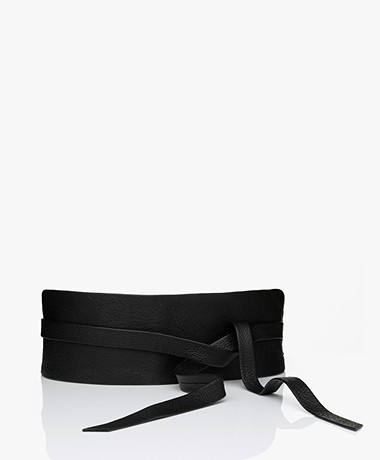 Repeat Leather Tie Belt - Black