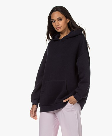 American Vintage Ikatown Cotton Blend Hooded Sweater - Navy
