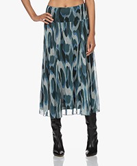 KYRA Stine Mesh Ikat Print Circle Skirt - Dark Green