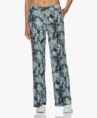 KYRA Gwendoline Viscose Print Pants - Dark Green