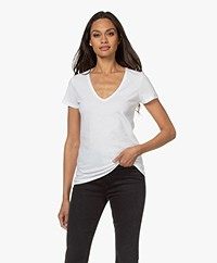 Majestic Filatures Julia Deluxe Cotton V-neck T-shirt - White