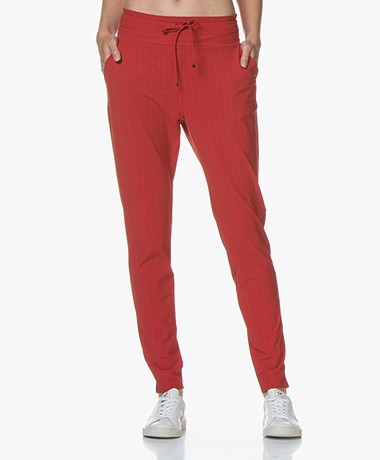 JapanTKY Yogi Striped Travel Jersey Pants - Warm Red