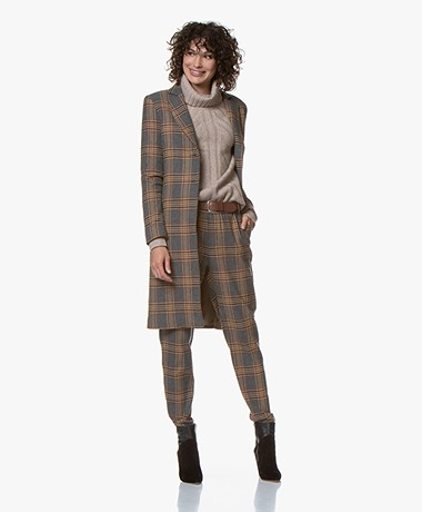 Josephine & Co Gamma Checked Blazer Coat - Grey/Brown