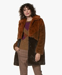 MKT Studio Mario Faux-fur Color Block Jas - Caramel