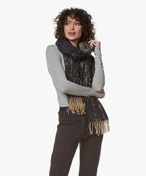 Filippa K Irregular Jaquard Wool Sjaal - Navy