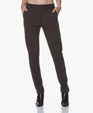 Josephine & Co Gaia Jersey Pinstripe Pants - Navy