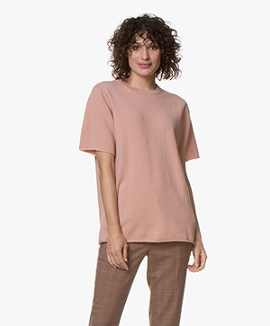 extreme cashmere N°64 Lang Gebreid T-shirt - Tea Rose