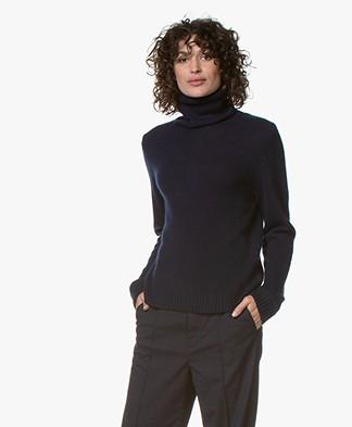 ba&sh Lace Cashmere Turtleneck Sweater - Dark Blue