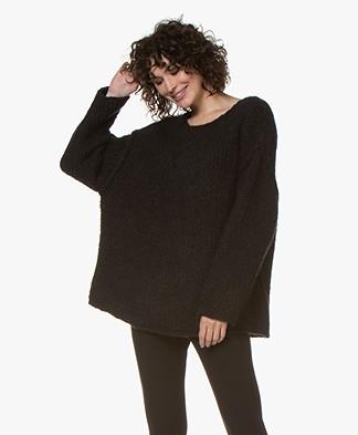 American Vintage Boolder Alpaca Blend Oversized Pullover - Black