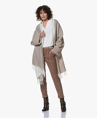 no man's land Wool Poncho with Fringes - Oak/Off-white