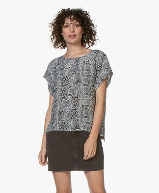Drykorn Somia Cupro Snake Print Blouse - Black/Grey