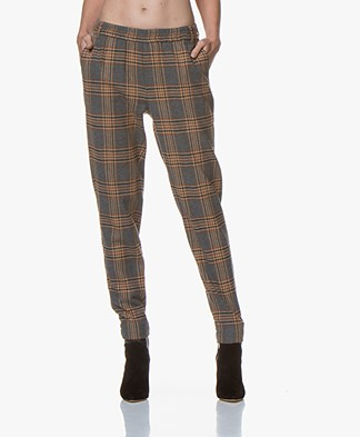 Josephine & Co Gaia Checked Pants - Grey/Brown