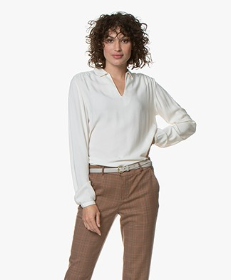 by-bar Aafke Viscose Splithals Blouse - Off-white