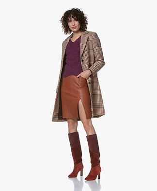 Josephine & Co Gouke Checkered Wool Blend Coat - Camel