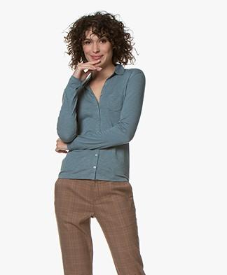 Belluna Marlo Cotton Blend Jersey Blouse - Sea Green