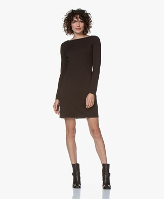 no man's land Milano Knit Wool Dress - Dark Fondente