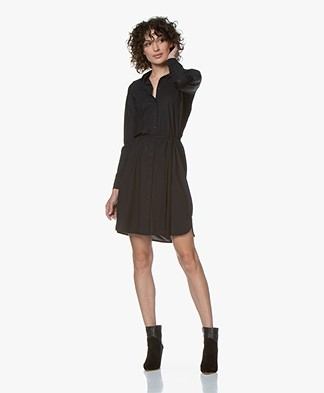 no man's land Travel Jersey Shirt Dress - Blue Black