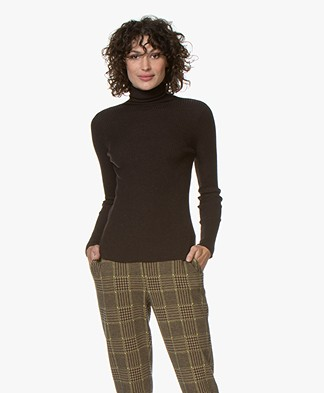 no man's land Pure Wool Rib Turtleneck - Dark Fondente