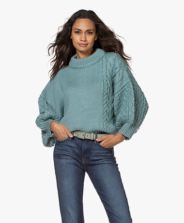 I Love Mr Mittens Cropped Chunky Knit Sweater - Greyish Blue