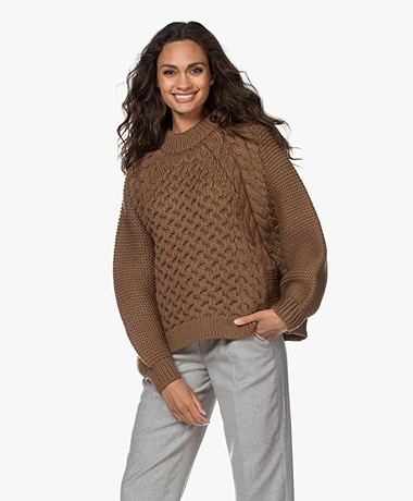 I Love Mr Mittens Aran Cable Knit Sweater - Chestnut