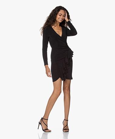 IRO Hime Jersey Lurex Ruffle Dress - Black
