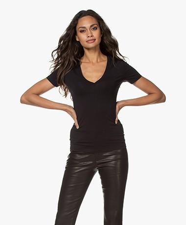 Drykorn Linara V-hals T-shirt - Zwart