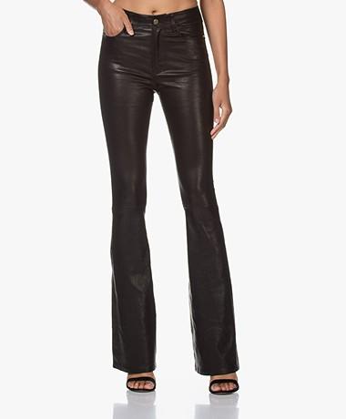 FRAME Le High Flare Leather Pants - Black