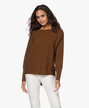 no man's land Rib Knitted Boat Neck Sweater - Dark Cognac