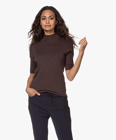 JapanTKY Tora Cotton Short Sleeve Turtleneck Sweater - Brown