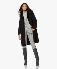 Drykorn Harleston Knee-length Wool Blend Coat - Black