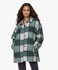 Closed Titania Checkered Wool Blend Coat - Olivesheen
