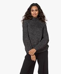 Pomandère Chunky Knit Turtleneck Sweater with Lurex - Dark Grey/Silver