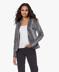 no man's land Jersey Lurex Blazer - Anthracite