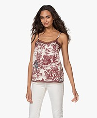 Zadig & Voltaire Camel Jouy Printed Satin Top - Toile