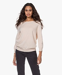 LaSalle Cashmere Cropped Sleeve Pullover - Vanilla