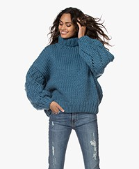 I Love Mr Mittens Lace Chunky Turtleneck Sweater - Petrol Blue